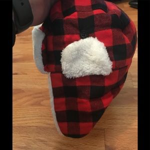 Carters red and black flannel trapper hat